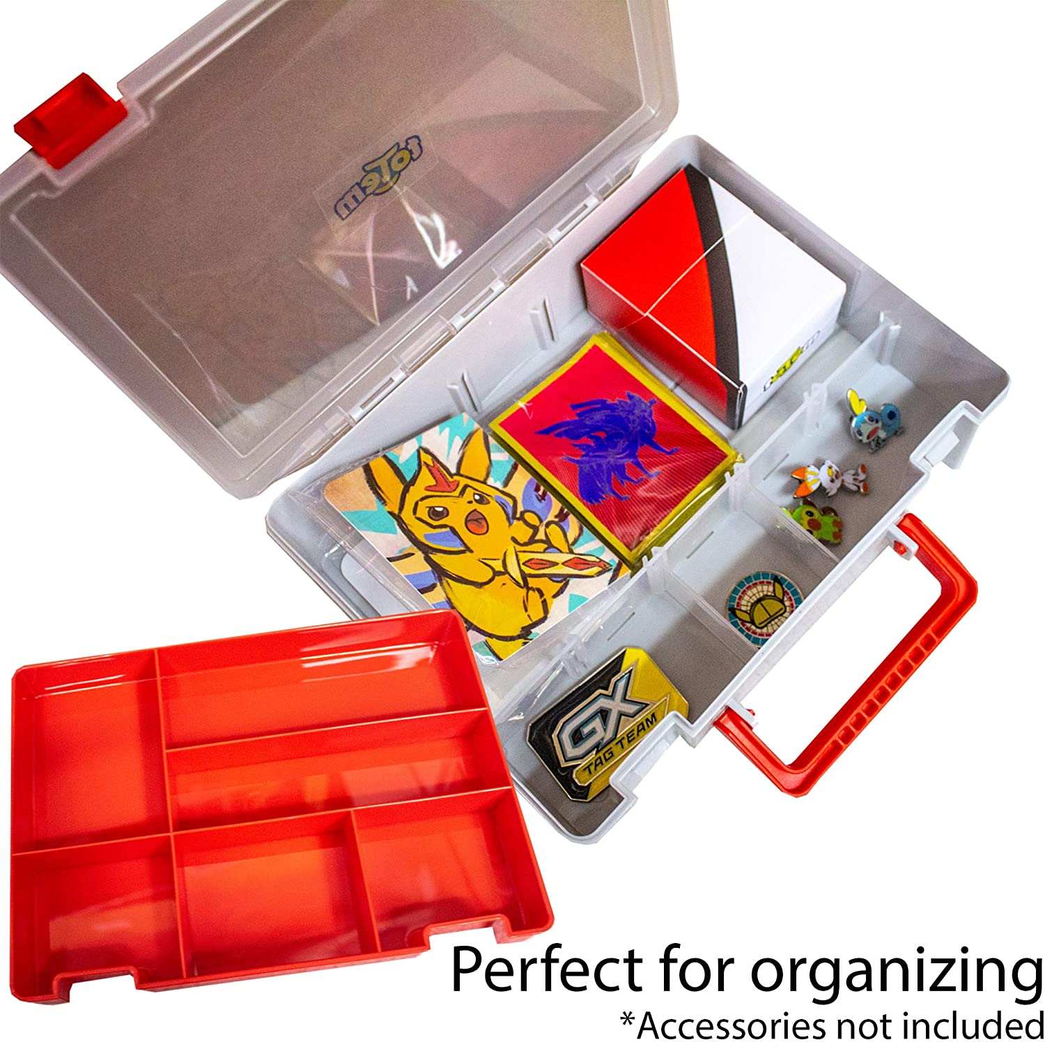 Totem World Collectible Trading Card Light Blue Carrying Storage Case Portable Organizer Plastic Box MTG Game Cards or Jewelry 10 Adjustable Grids YuGiOh Fits Pokemon 2 Layer Compartments