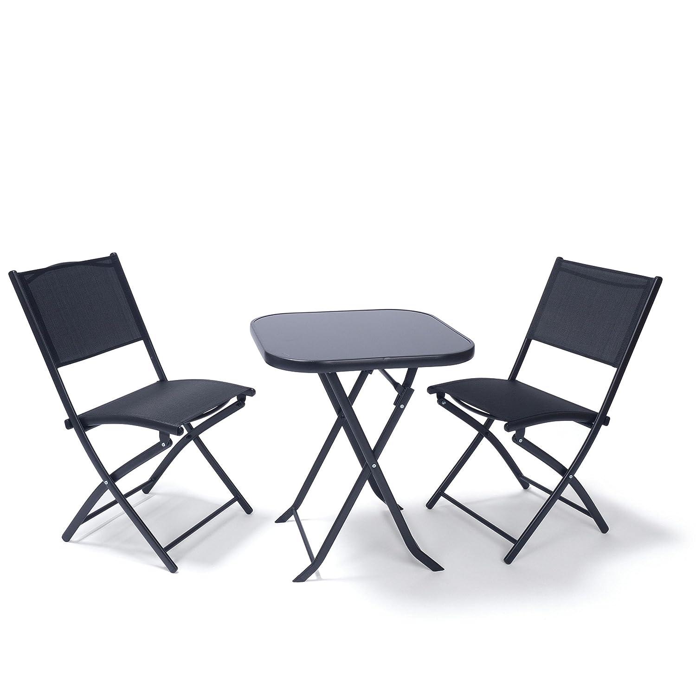 Ampel 24 Set di mobili da balcone PARIS | set da giardino di metallo resistente alle intemperie | tavolo richiudibile con piano in vetro e 2 sedie pieghevoli