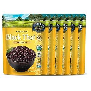 Lundberg Organic Fully Cooked & Ready to Heat Rice, Black Thai Khao Dum Rice, 8oz (6 Count), Gluten-Free, Vegan, USDA Certified Organic, Non-GMO Project Verified, 100% Whole Grain, Fair Trade