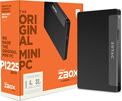 Mini PC Intel Core N4100 fino a 4X 2,4 GHz; 4 GB RAM; 64 GB eMMC; Intel HD Graphics 600; WLAN; Bluetooth 5; USB 3.0; HDMI; Windows 10 Home 64 bit ZOTAC ZBOX-PI335 colore: Nero
