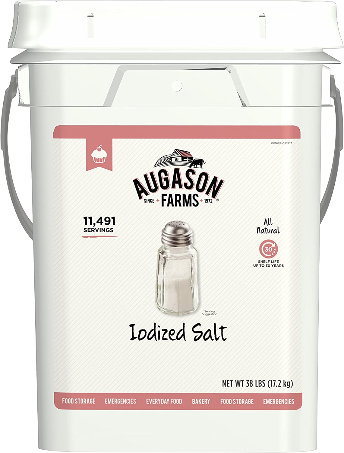 Augason Farms Iodized Salt Certified Gluten Free Long Term Bulk Food Storage 4 Gallon Pail 11, 491 Servings