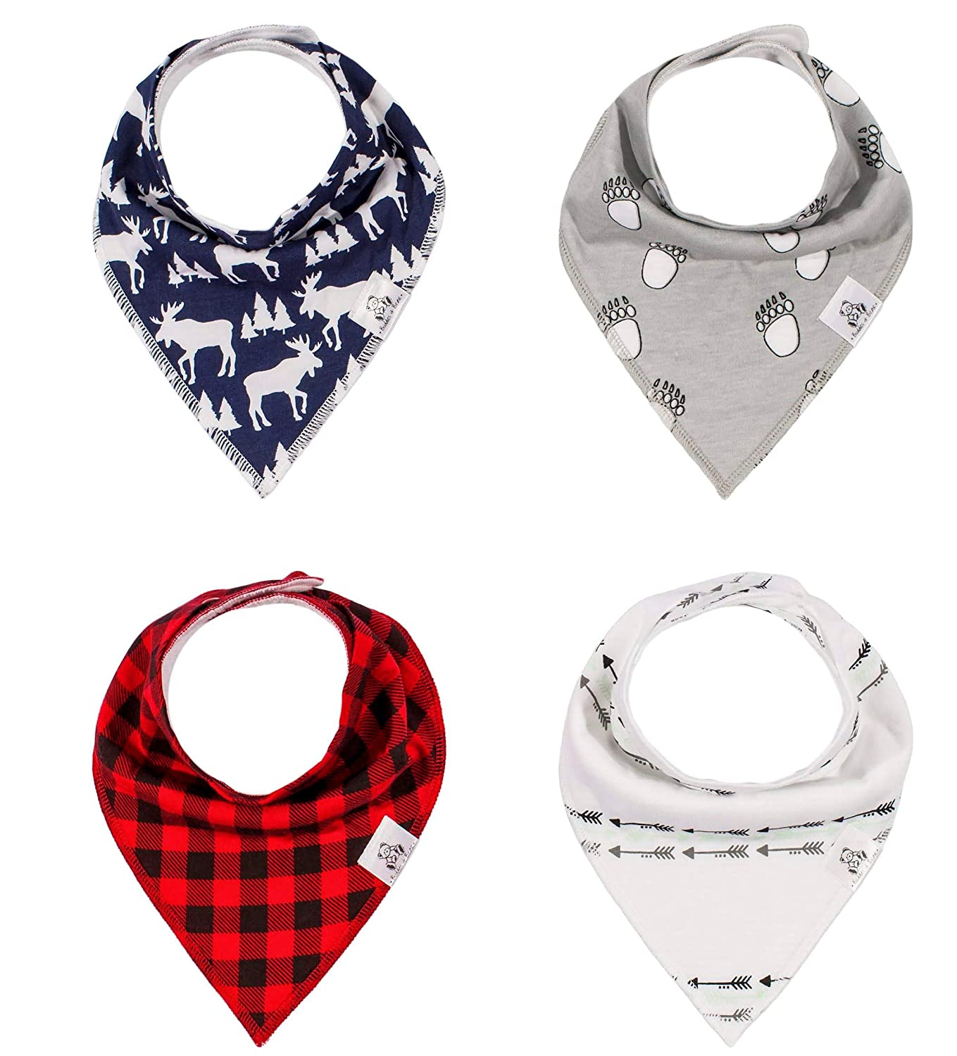 Baby Bandana Drool Bib 4 Piece Set, Best for Teething and Drooling, Absorbent and Soft, 'The Logan Pack' for Boys and Girls by Buddies + Bear, 100% Organic Cotton + Polyester Fleece, Registry Gift The Logan Pack for Boys and Girls by Buddies + Bear