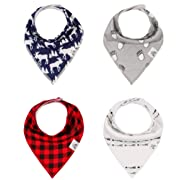 Baby Bandana Drool Bib 4 Piece Set, Best for Teething and Drooling, Absorbent and Soft,  The Logan Pack  for Boys and Girls by Buddies + Bear, 100% Organic Cotton + Polyester Fleece, Registry Gift