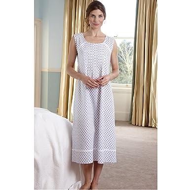The Irish Linen Store Womens Louisa Sleeveless Cotton Nightdress White  Pattern Extra Large bd1f51321f