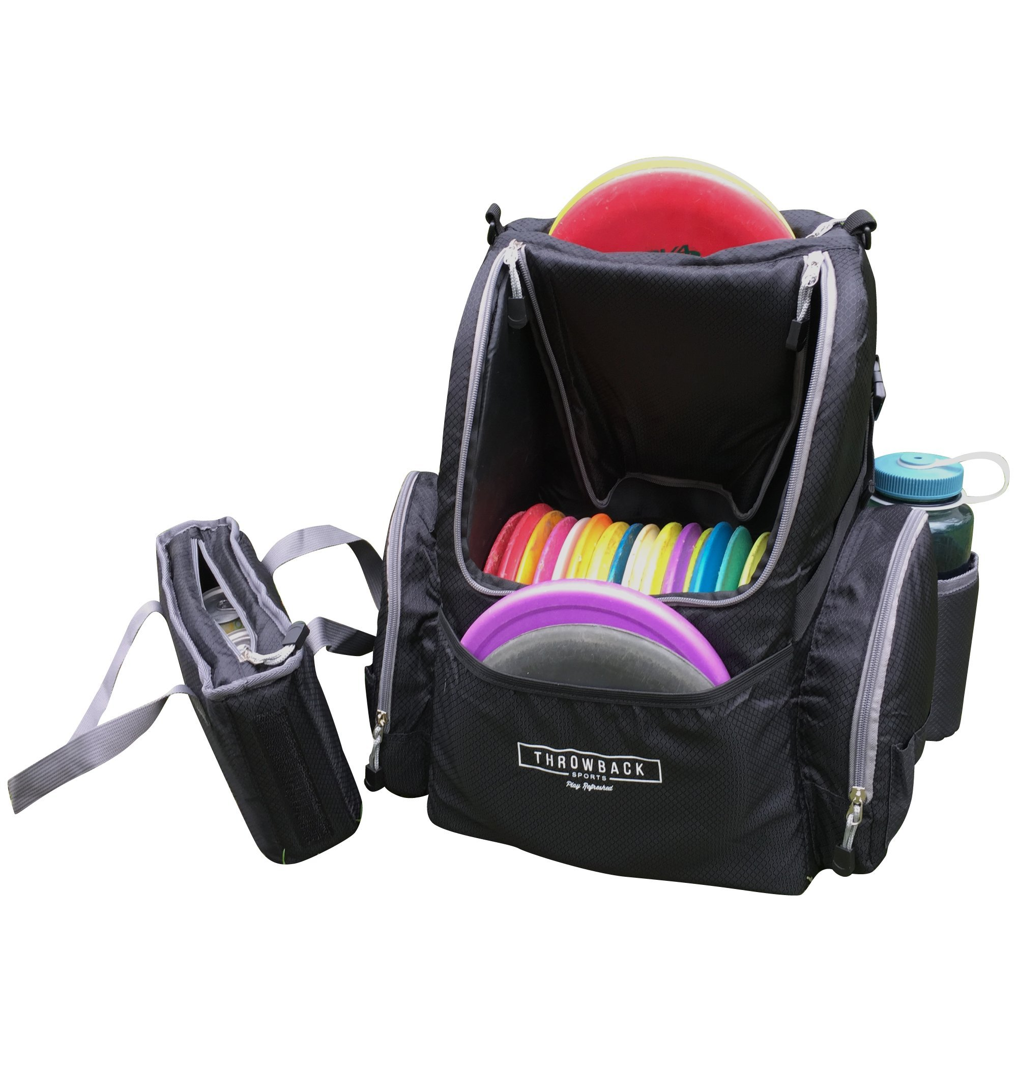 Throwback ModPack - Disc Golf Backpack With Removable Cooler Sleeve - Frisbee Disc Golf Bag With Cooler - Holds Up To 20 Discs & 3 Cans