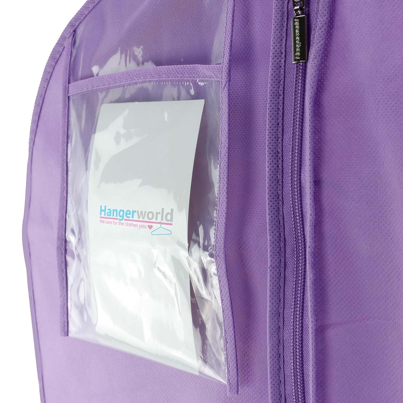 Hangerworld 5 Fundas para Vestido de Novia 183cm Transpirable Anti-Polvo Lila con Cremallera