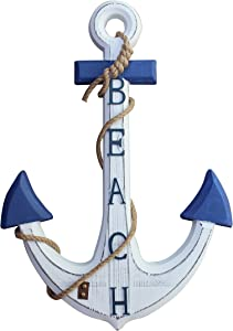 "Royal Brands Wooden Nautical Beach Anchor Wall Hanging Ornament Plaque - Coastal Decor (24"" x 17.5"")"