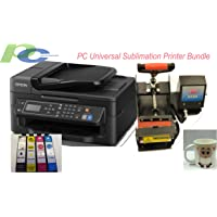 PC Universal Sublimation Printer Bundle Package with Heat Press Machine and Assorted Mugs, Great Christmas Gift, Make Your Customized Gifts for Any Special Occations, Easy to DIY