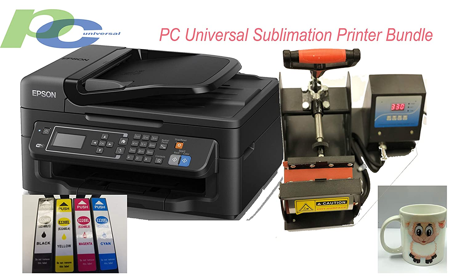 PC Universal Sublimation Printer Bundle Package with Heat Press Machine and  Assorted Mugs, Great Christmas Gift, Make Your Customized Gifts for Any