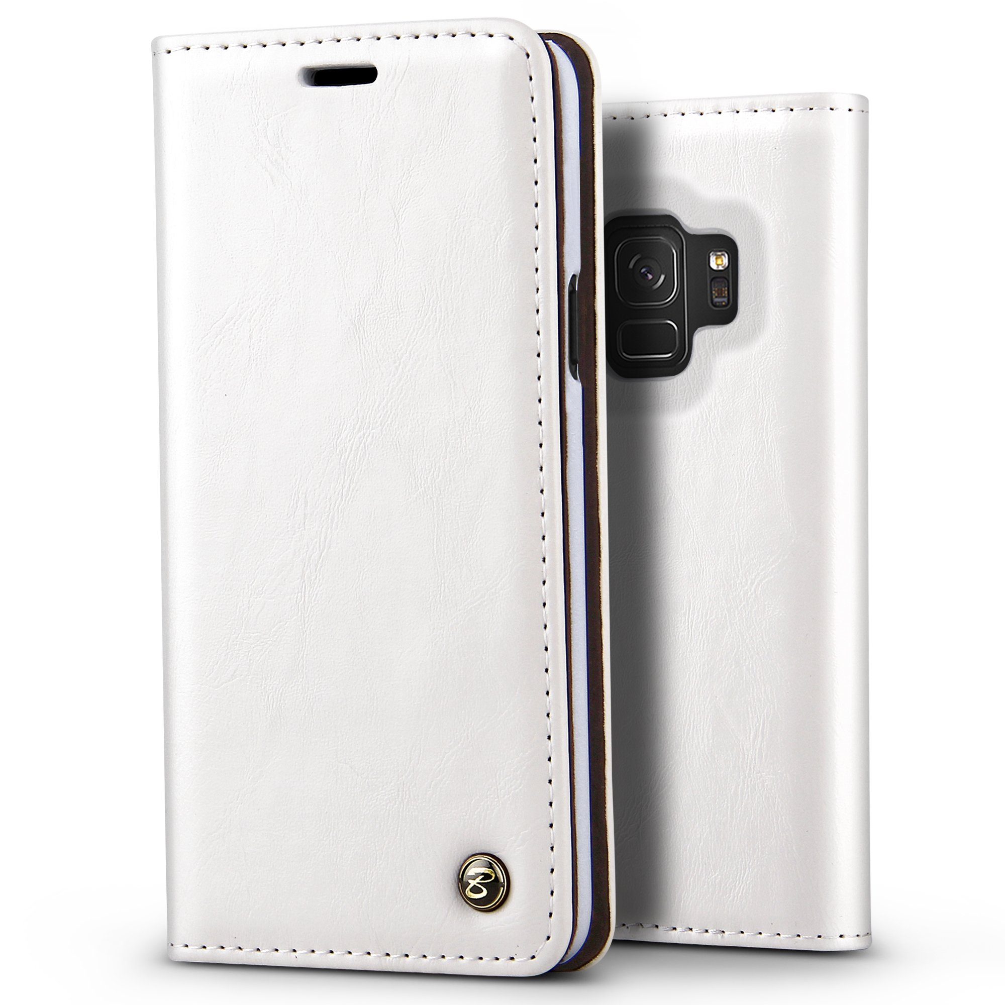 B Belk Galaxy S9 Case, Vintage Book Style Glossy PU Leather Wallet Case Embedded Magnetic Closure [1 Card Slot] Hard PC Protective Bumper Cover w/Kickstand for Samsung Galaxy S9 (White)