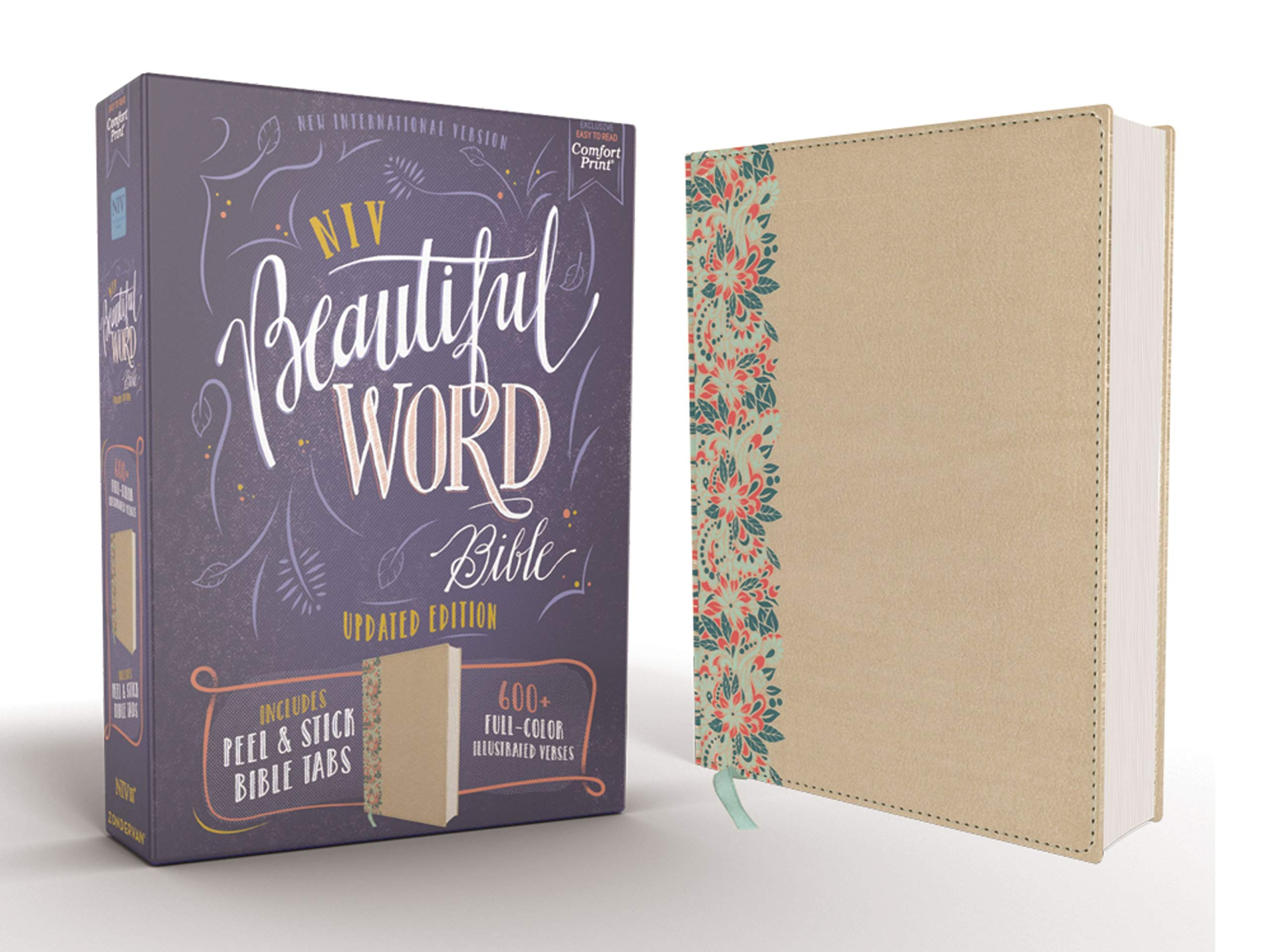 NIV, Beautiful Word Bible, Updated Edition, Peel/Stick Bible Tabs, Leathersoft over Board, Gold, Red Letter, Comfort…