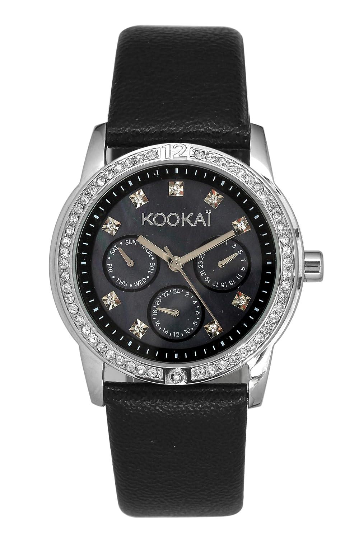 KookaÏ – KO 035S-AA Damen-Armbanduhr – Quarz Analog – Zifferblatt schwarz Armband Leder schwarz
