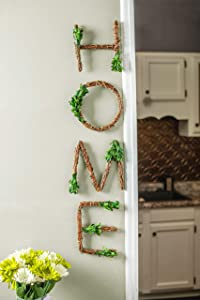 """Farmhouse Wall Decor HOME Grapevine Sign - Rustic Wall Decorations for Living Room and Perfect for Your Farmhouse Kitchen Decor. Letters measure 8""""x 8"""