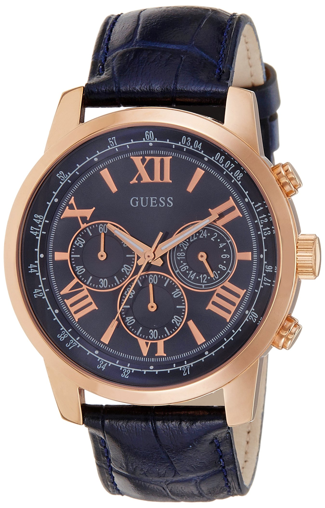 GUESS Men's W0380G5  Blue Dial, Rose Gold-Tone Case, Leather Strap, Iconic Blue Chronograph Watch