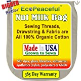 """USA Organic Cotton, Nut Milk Bag. (Read our: Fake """"Organic"""" Warning!) Truly all 100% Organic Cotton, Undyed, Unbleached. Sewn w/ 100% Organic Cotton Threads."""