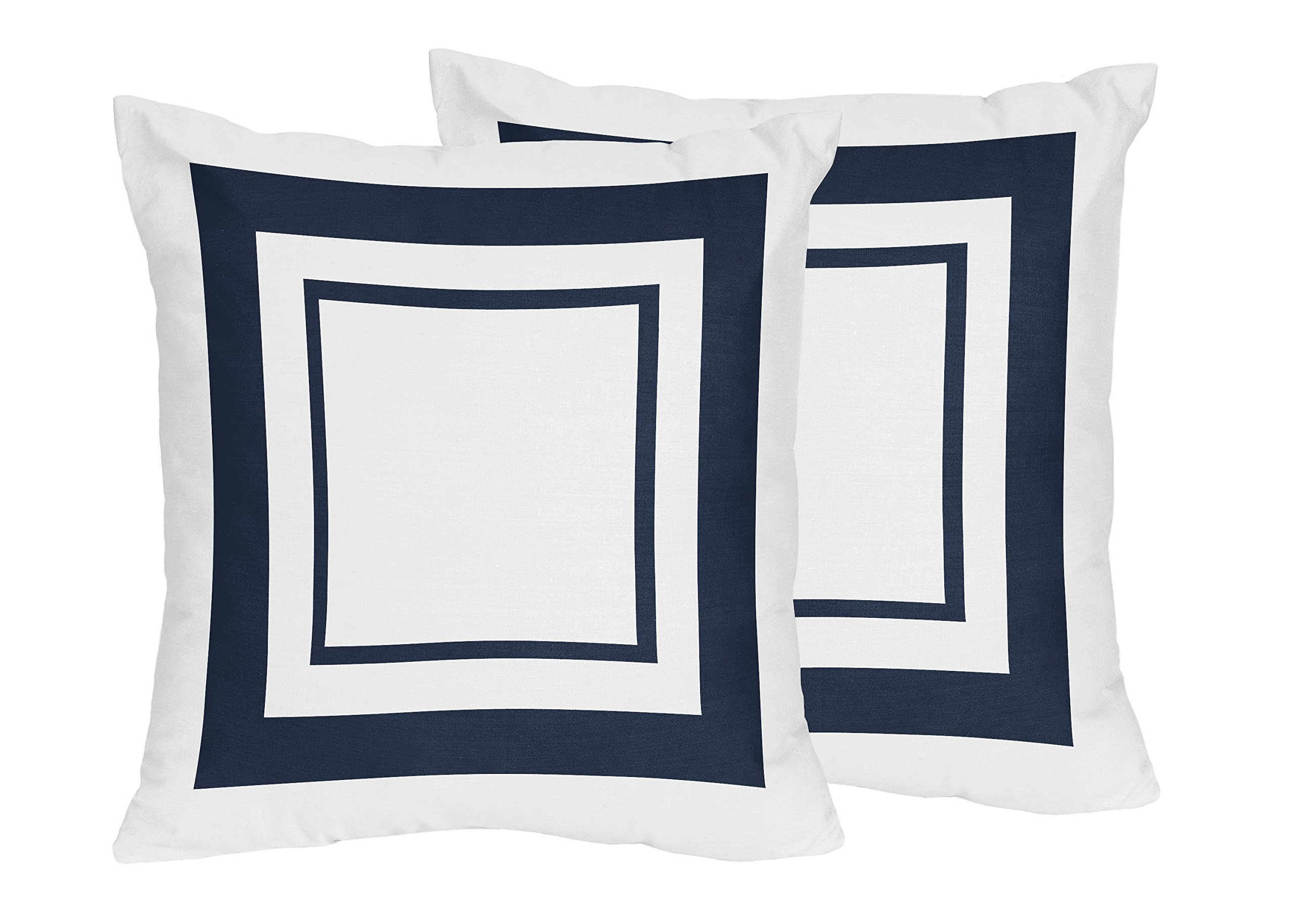 Sweet Jojo Designs 2-Piece Contemporary White and Navy Blue Modern Hotel Decorative Accent Throw Pillows