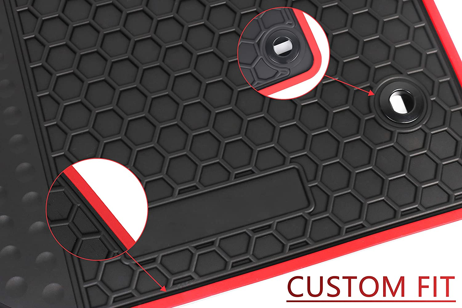 HD-Mart Car Rubber Floor Mat for Toyota Camry 7th 2012-2013-2014-2015-2016-2017 Custom Fit Full Black Rubber Car Floor Liners Set All Weather Protection Heavy Duty Odorless