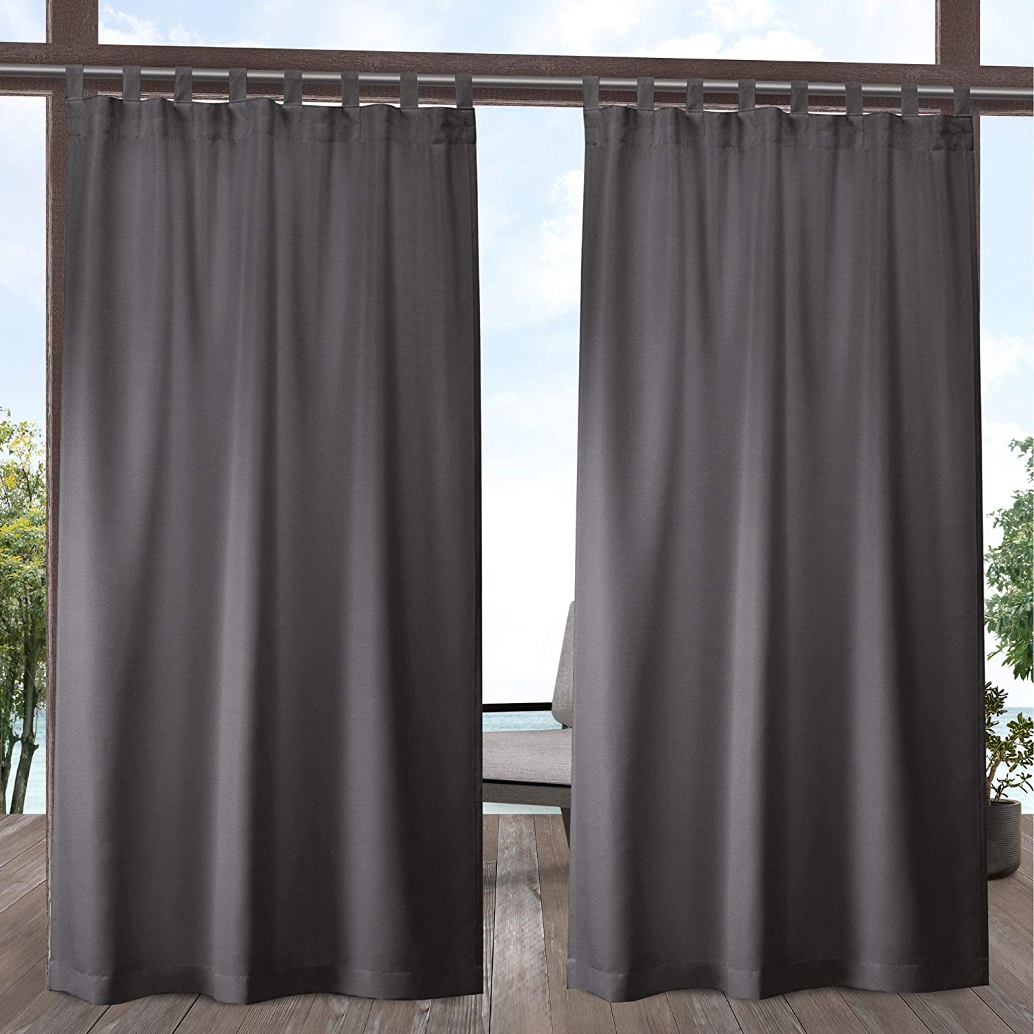 Exclusive Home Curtains Indoor/Outdoor Solid Cabana Tab Top Curtain Panel Pair, 54x108, Charcoal