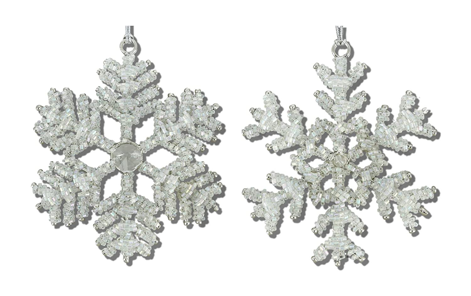ShalinIndia Handmade Iron and Glass Snowflake Ornaments,10 Different ...