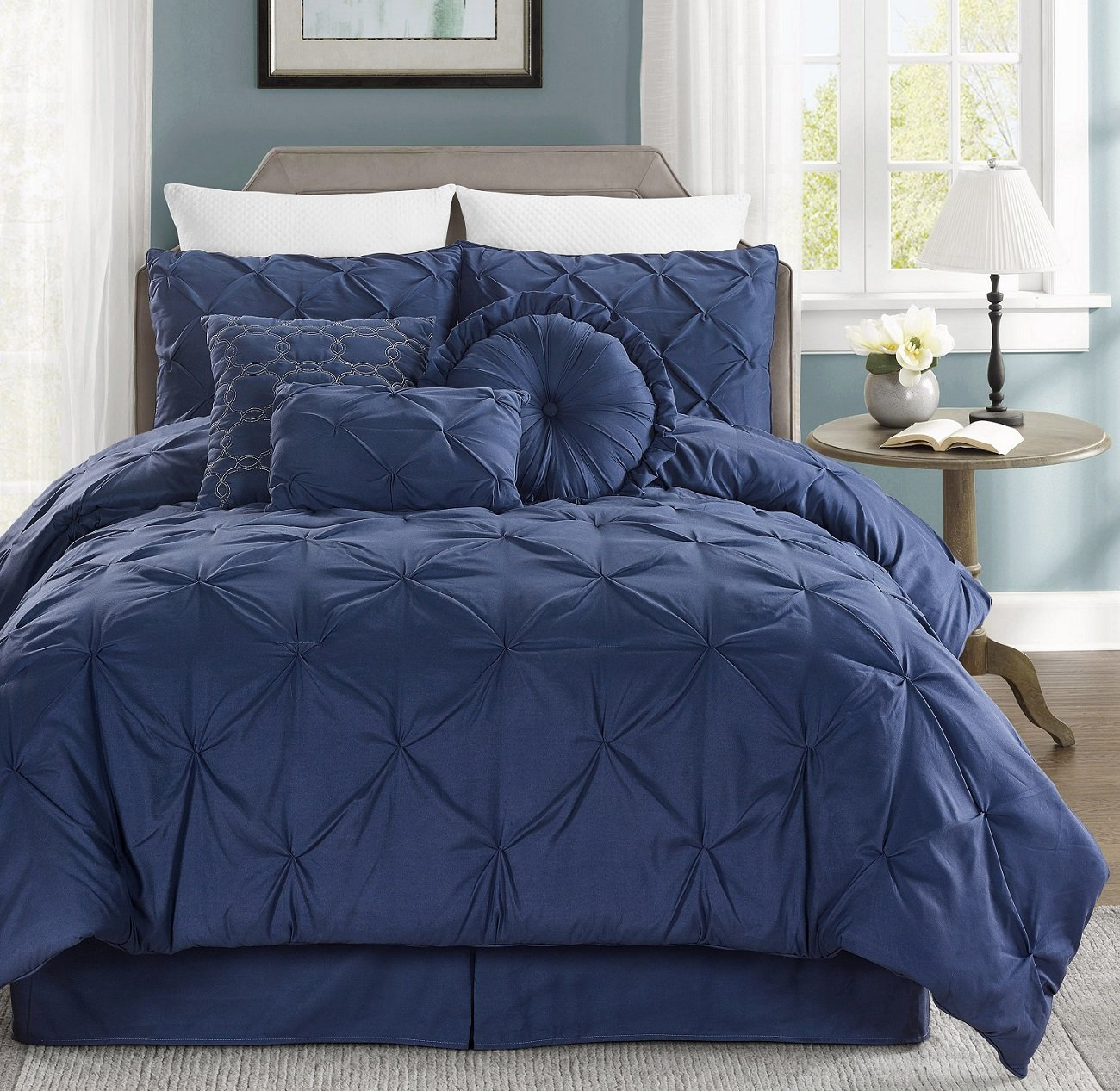 Chezmoi Collection Sydney 7-piece Pintuck Bedding Comforter Set Queen, Navy