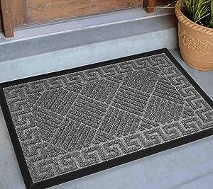 Front Door Mat Outdoor 30x18, Extra Durable Welcome Mat Outdoor, Heavy Duty Door Mats for Outside Entry, Cute Black Outdoor Doormat, Home Entrance Mat, Outdoor Mats for Back Door Waterproof, Gray