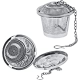 "U.S. Kitchen Supply - 2 Premium Stainless Steel Tea Ball Strainer Infusers - 2"" Size with Micro Perforated Mesh - Steep Loose Leaf Tea, Herbal, Spices & Seasonings - Teapot, Tea & Coffee Cup Mug"