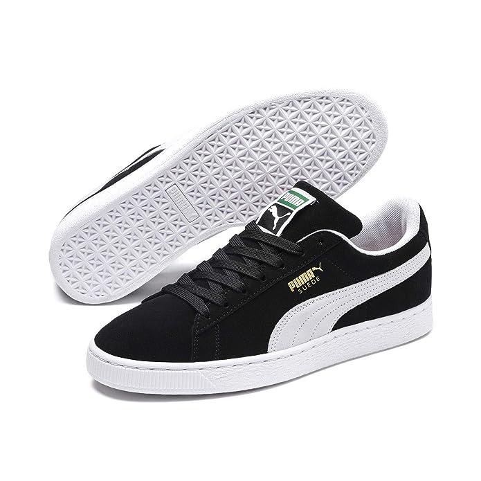 Puma Suede Schuhe Erwachsene Damen Herren schwarz m weißem Streifen