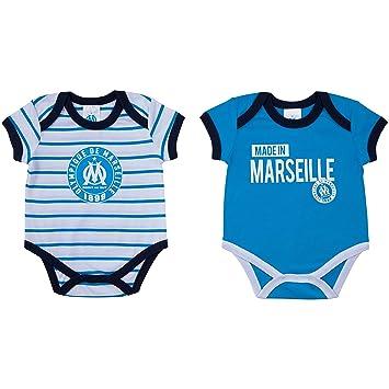 Lot de 2 bodys bébé garçon OM - Collection officielle OLYMPIQUE DE  MARSEILLE - 3 mois 965f5c538f4