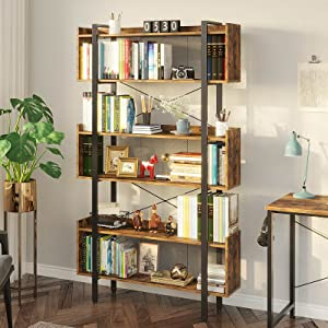 Rolanstar Bookshelf 6-Tier Bookcase, Free Standing Vintage Bookshelves with Metal Frame for Open Storage,Display and Book Organization in Living Room, Bedroom,Rustic Brown