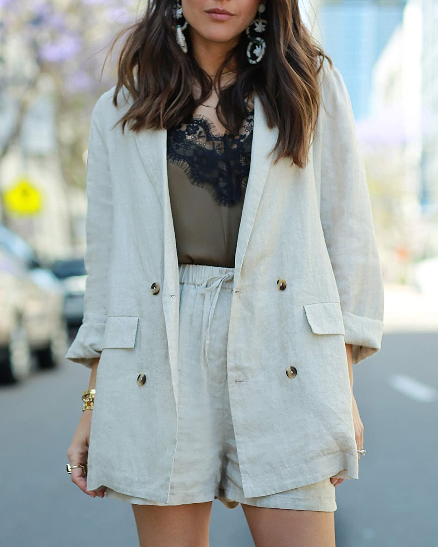 The Drop Blazer da donna in lino oversize doppiopetto colore naturale by @paolaalberdi