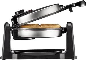 Chefman Rotating Belgian Waffle Maker, 180° Flip Waffle-Iron w/Non-Stick Plates, Adjustable Timer, Locking Lid, Drip Plate, Space Saving Storage, Stainless Steel/Black