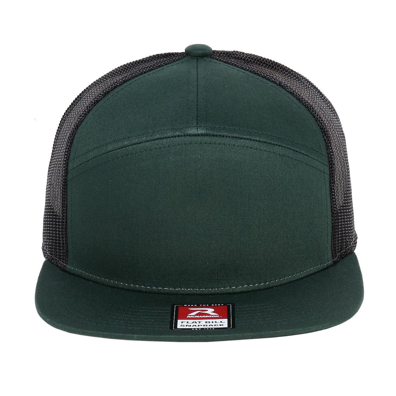 d8171ae3aa409 Richardson 7 Panel Arch Flat Bill Snapback Mesh Trucker Hat (Red-Black) at  Amazon Men s Clothing store