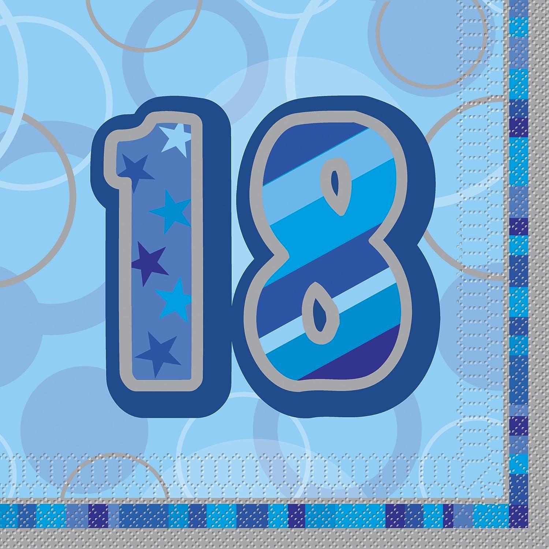 Unique Party 28452 Tovaglioli di Carta Happy Birthday, Confezione da 16, Blu Brillante