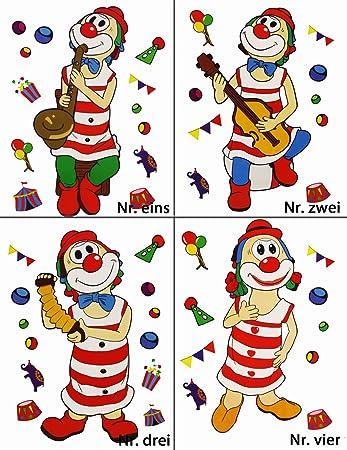 Karnevals Gigant Fensterbilder Clown Jeder Bogen Ist Ca 33x42cm