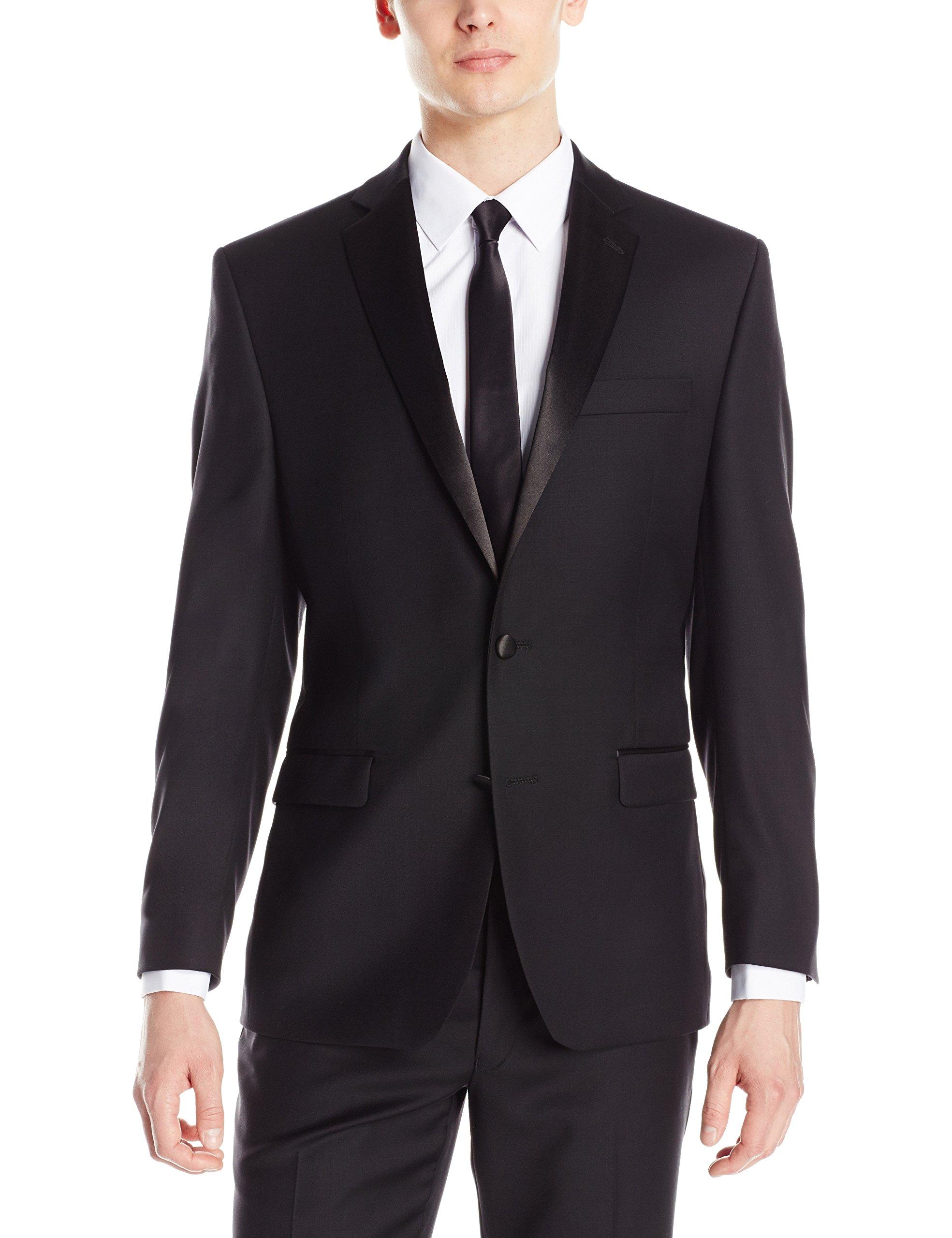 Calvin Klein Men's Modern Fit 100% Wool Tuxedo Separate Jacket, Black, 42 Regular