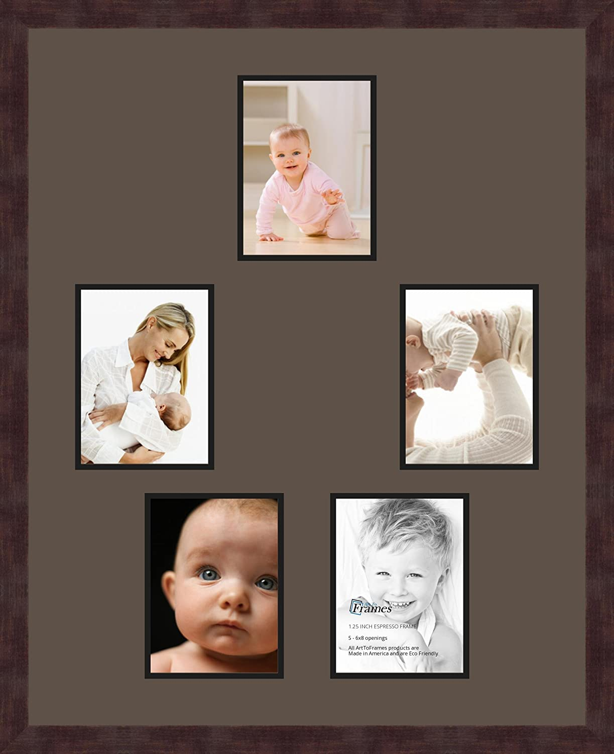 Art to Frames Double-Multimat-984-119//89-FRBW26061 Collage Frame Photo Mat Double Mat with 5-6x8 Openings and Espresso Frame