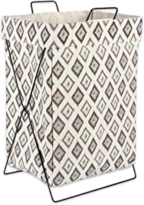 "DII X Frame Collapsible Heavy Duty Fabric Laundry Bin Perfect In YourBedroom, Nursey, Dorm, Closet, Laundry Room, 15"" - Neutral Ikat Diamond"