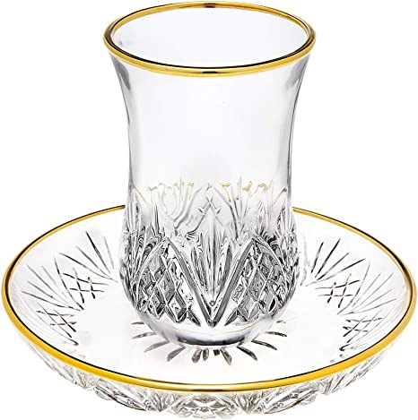Godinger Dublin Crystal Kiddush Cup And Saucer With Gold Edge Cup Saucer Sets