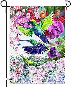 AOKDEER Spring Burlap Garden Flag, Double Sided Spring Flower Hummingbird House Flags, Vertical Welcome Yard Flag Seasonal Outdoor Decor Floral Banners Farmhouse Garden Yard Decorations 12.5x18 Prime