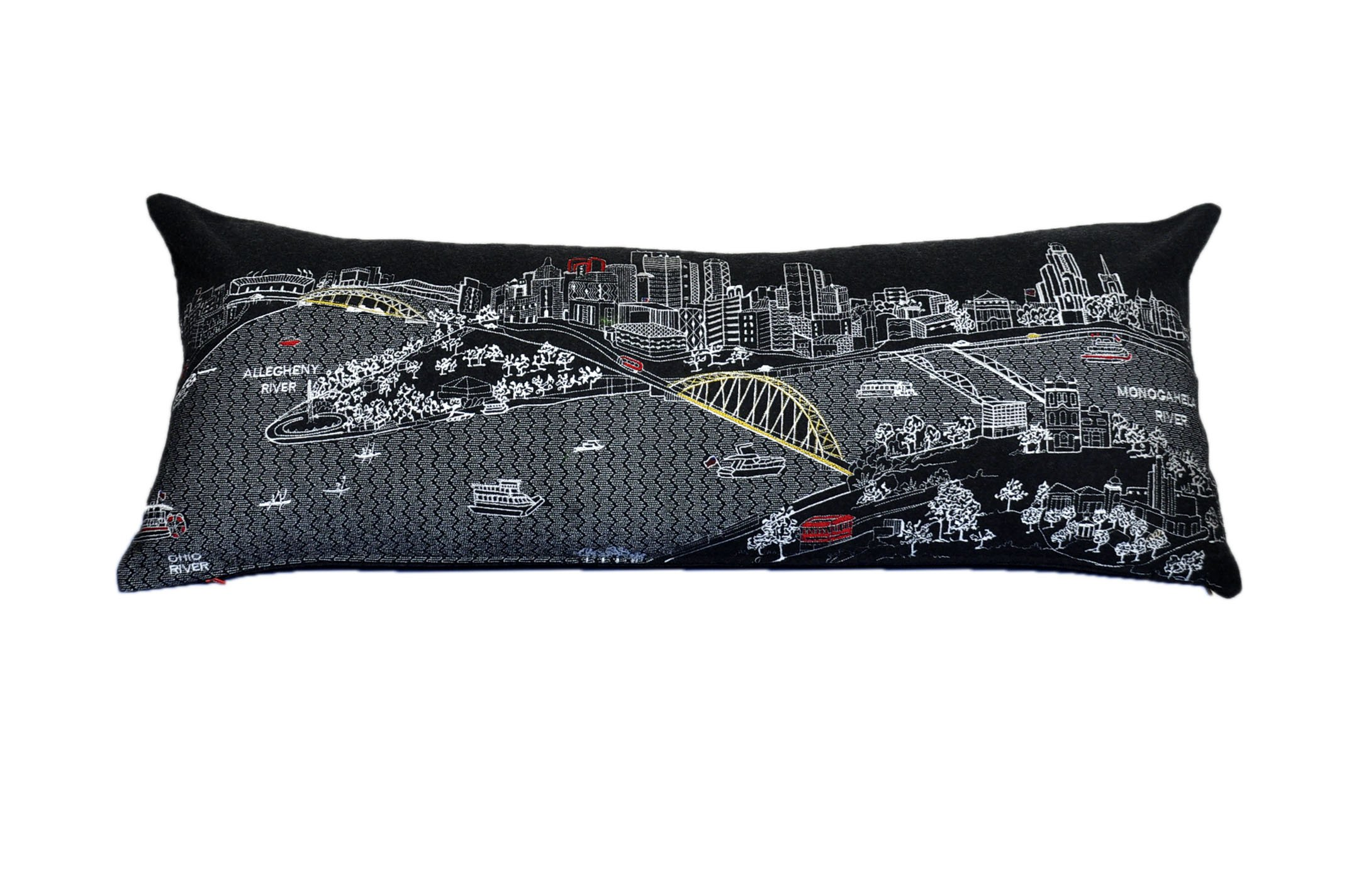 Beyond Cushions Polyester Throw Pillows Beyond Cushions Pittsburgh Night Skyline Queen Size Embroidered Accent Pillow 35 X 14 X 5 Inches Black Model # PIT-NGT-QUN