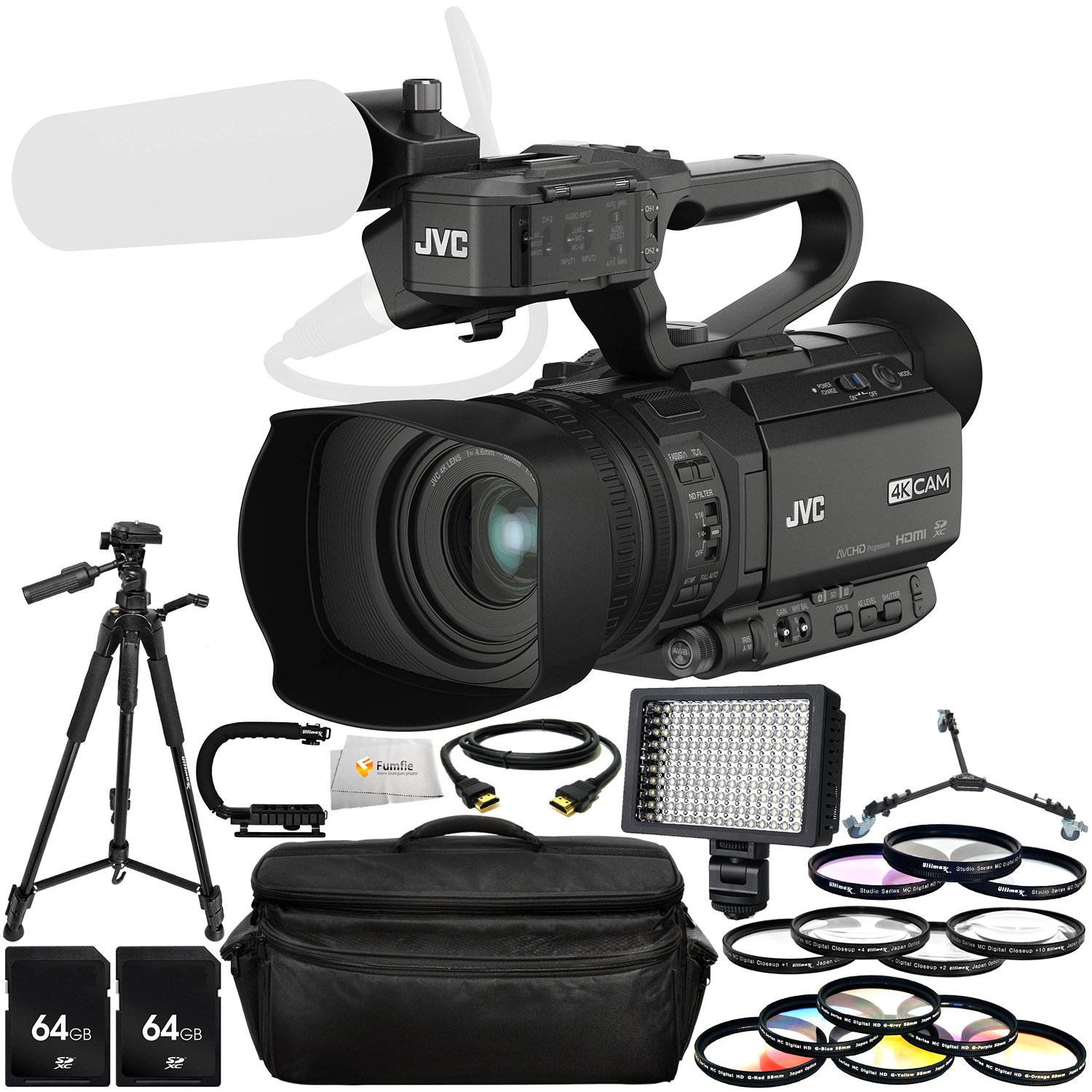 JVC GY-HM200HW House of Worship Streaming Camcorder Bundle Includes 2 64GB SD Memory Cards + Neutral Density Filter (ND2-ND400) + 72'' Tripod + Tripod Dolly + Professional 160 LED Light & More!