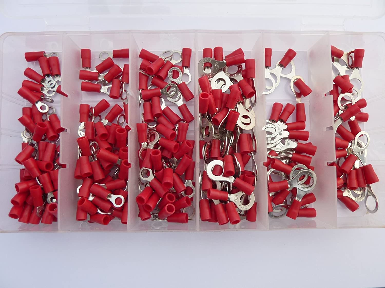 SK-DV 250 Ring Kabelschuhe/Ringoese M3 - M8 - Sortiment Nr. 1 - rot für Kabel von 0, 5 mm² - 1, 5 mm Sascha Knapp
