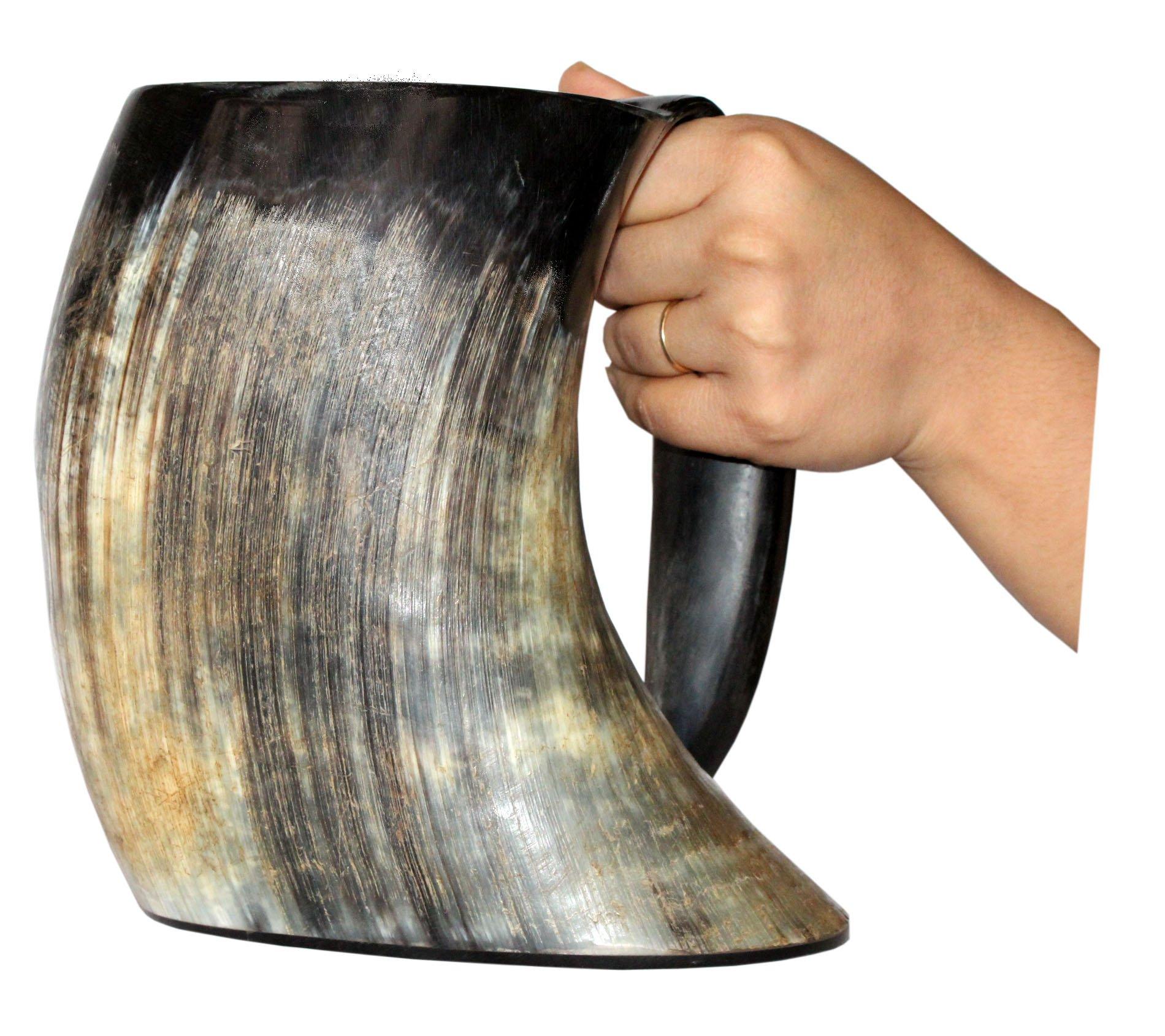 Vikings Valhalla's Viking Cup Drinking Horn Tankard Authentic Medieval Inspired drinking Mug (50oznt)