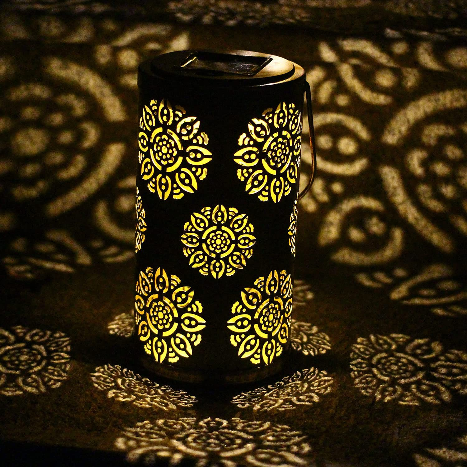 Solar Metal Lantern Garden Accessories Outdoor Decorations Outside Decor Flower Pattern for Yard Patio Balcony Table, Hanging Light Decorative LED, Gifts for Women, Waterproof