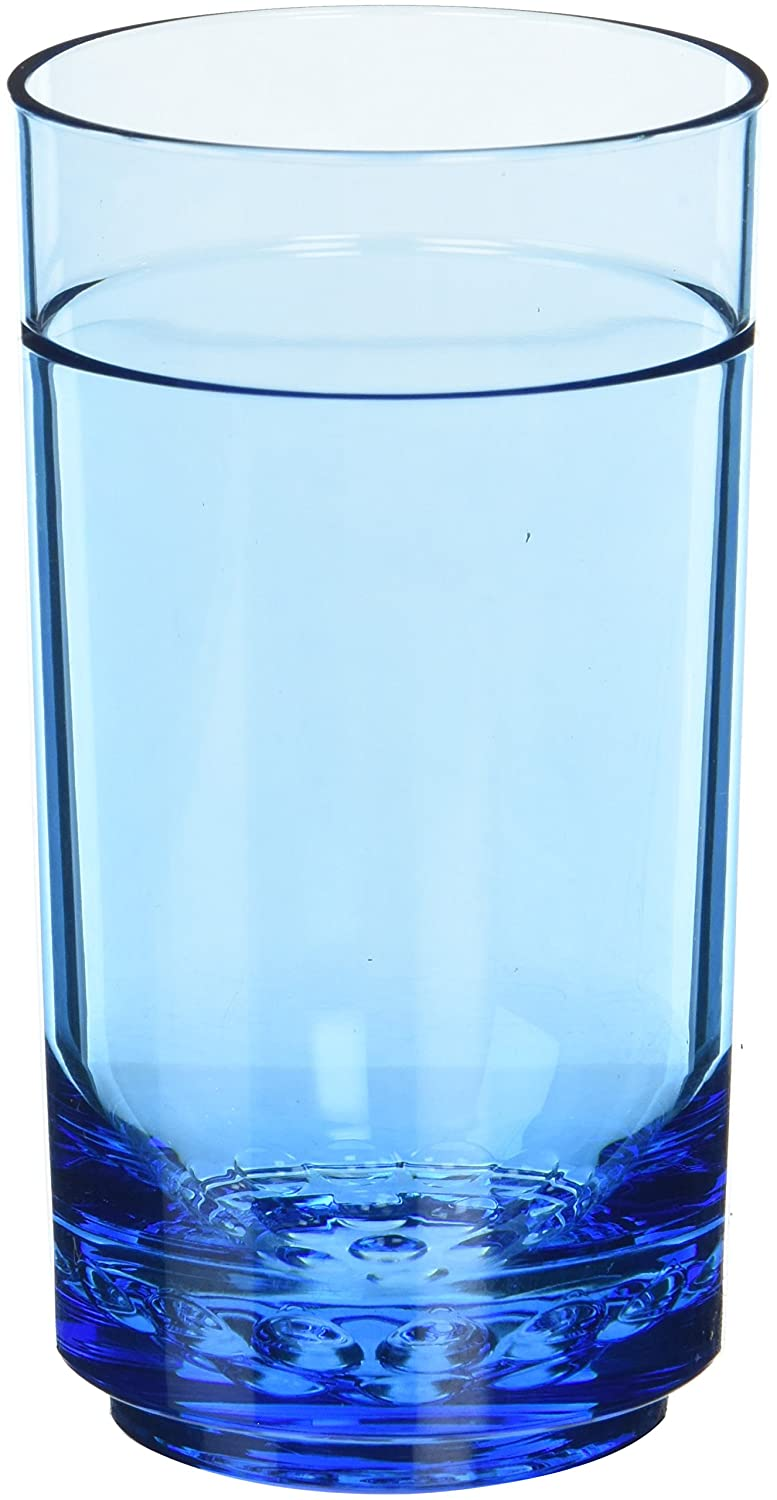 Drinique ELT-TA-BLU-4 Elite Tall Unbreakable Tritan Highball Glasses, 14 oz (Set of 4), Blue