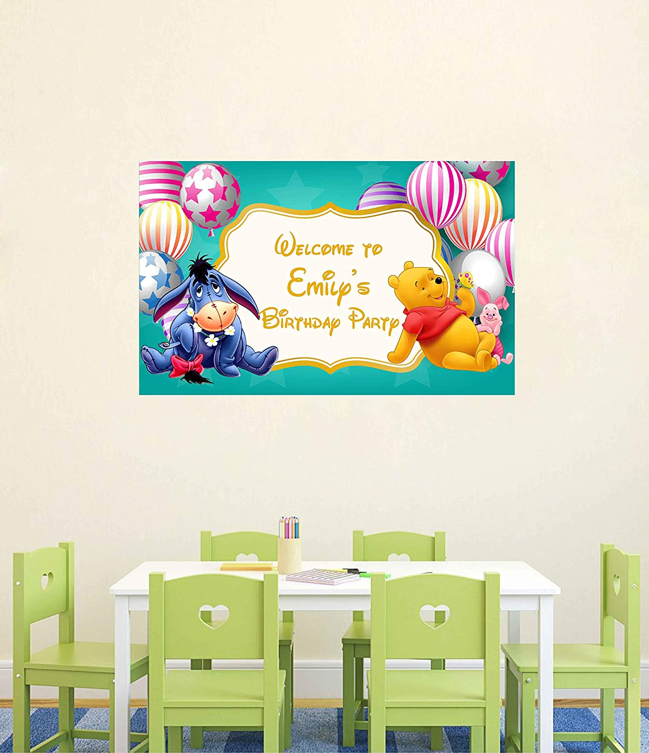 Winnie the Pooh Birthday Banner Personalized Party Backdrop Decoration ikban16