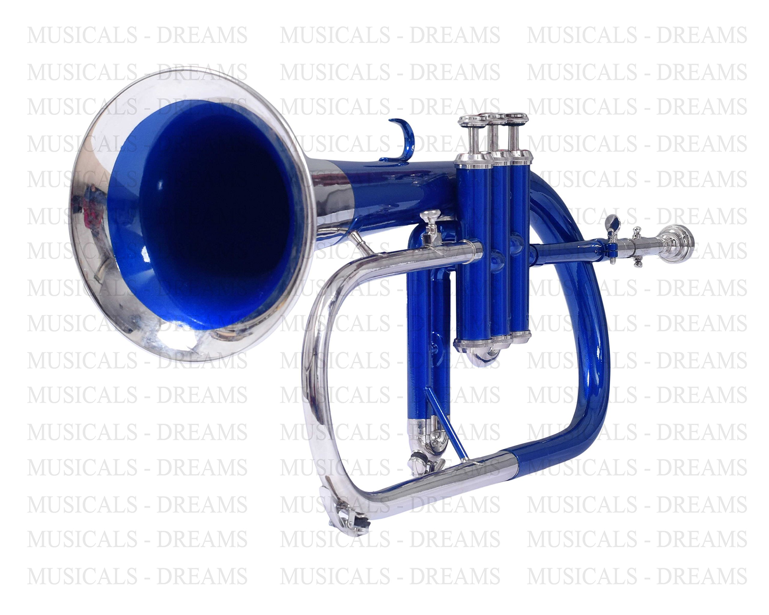 FLUGEL HORN 3 VALVE Bb PITCH FULL BLUE + NICKEL WITH FREE HARD CASE + MP