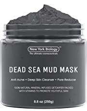 New York Biology Dead Sea Mud Mask for Face & Body - 100% Natural Spa Quality - Best Pore Reducer & Minimizer to Help Treat Acne Blackheads & Oily Skin – Tightens Skin for a Visibly Healthier Complexion – 8.8 OZ