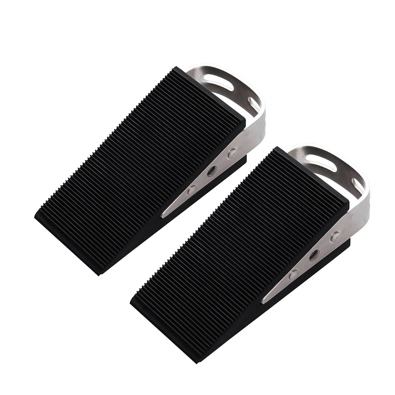 FLORA GUARD Door Stoppers- 2 Packs Premium Heavy Duty Wedge Rubber Door Stopper, Non-Scratching Door Stop, Anti-Slip Garden Stopper