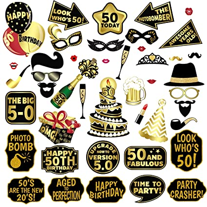 Photo Booth Props 50th Birthday 44Pcs Party Supplies Favor Decorations